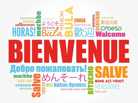 Bienvenue (Welkom in het Frans) woordwolk in verschillende talen, conceptuele achtergrond Stockfoto - 80855188