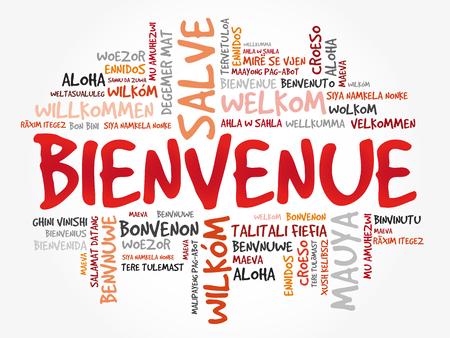Bienvenue (Bienvenido en francés) nube de palabras en diferentes idiomas, antecedentes conceptuales