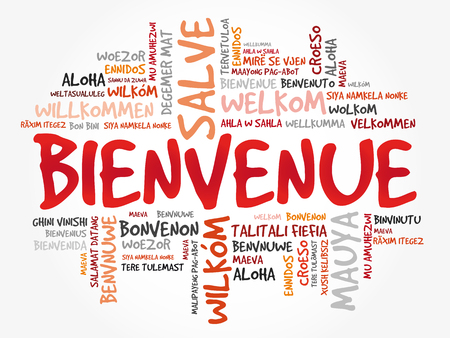 Bienvenue (Welcome in French) word cloud in different languages, conceptual background 向量圖像