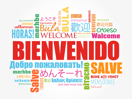 Bienvenido , Welcome in Spanish, word cloud in different languages, conceptual background