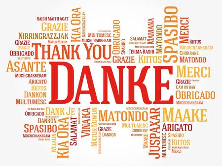 Danke (Merci en allemand) Contexte de Word Cloud, toutes les langues, multilingue pour l'éducation ou le jour de Thanksgiving Banque d'images - 80855193