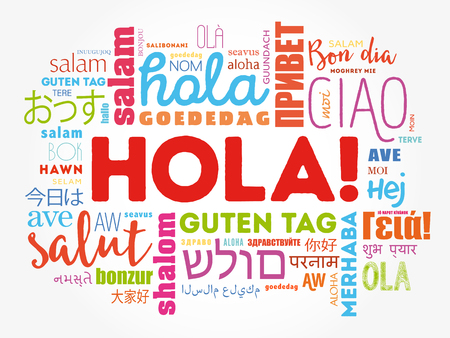 Hola (Hello Greeting in Spanish) word cloud in different languages of the world, background concept Illustration