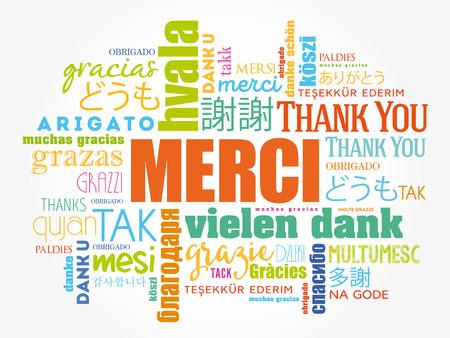 Merci (dank u in het Frans) Word Cloud achtergrond, alle talen, meertalig voor onderwijs of dankzeggingsdag Stock Illustratie
