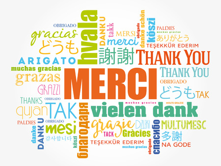 Merci (프랑스어 감사합니다) Word 클라우드 배경, 모든 언어, 교육 또는 추수 감사절을위한 다국어 일러스트