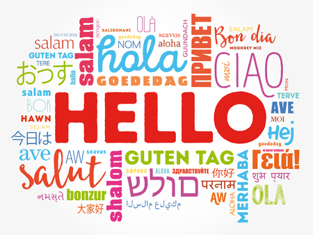Hello word cloud in different languages of the world, background concept Ilustracja