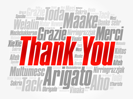 metadata: Thank You Word Cloud background, all languages, multilingual for education or thanksgiving day Illustration