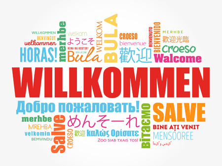 Willkommen, Welcome in German, word cloud in different languages, conceptual background Illusztráció