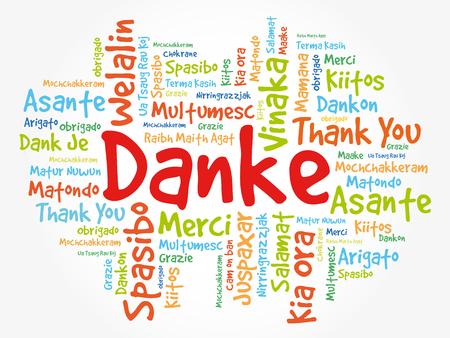 Danke (Merci en allemand) Contexte de Word Cloud, toutes les langues, multilingue pour l'éducation ou le jour de Thanksgiving Banque d'images - 80855216