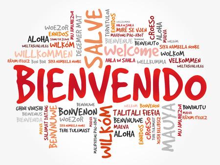 Bienvenido, Willkommen in Spanisch, Wortwolke in verschiedenen Sprachen, konzeptioneller Hintergrund