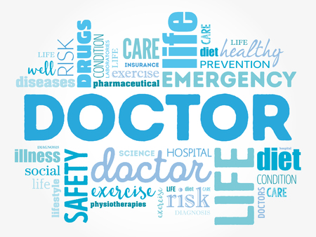 educated: Doctor word cloud collage, healthcare concept background