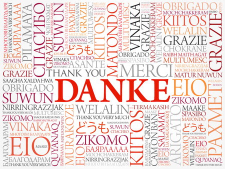 metadata: Danke (Thank You in German) Word Cloud background, all languages, multilingual for education or thanksgiving day