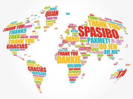 Dziękuję w wielu językach Mapa świata w typografii chmura słów, wielojęzyczna dla edukacji lub Święta Dziękczynienia Ilustracje wektorowe