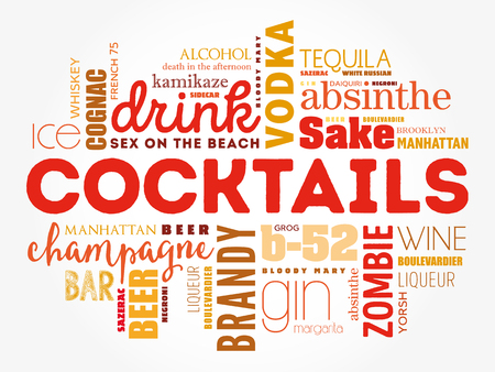 Diferentes cócteles e ingredientes, la palabra nube de collage, el concepto de diseño de fondo