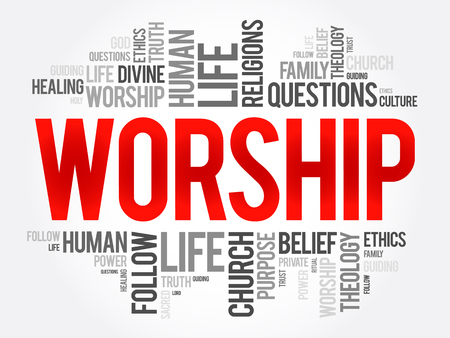 praise: Worship word cloud collage, social concept background