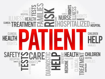 Kolaż chmura słowo pacjenta, tło koncepcja zdrowia Ilustracje wektorowe