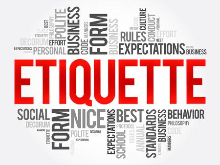 Etiquette woord cloud collage, sociaal zakelijk concept op schoolbord