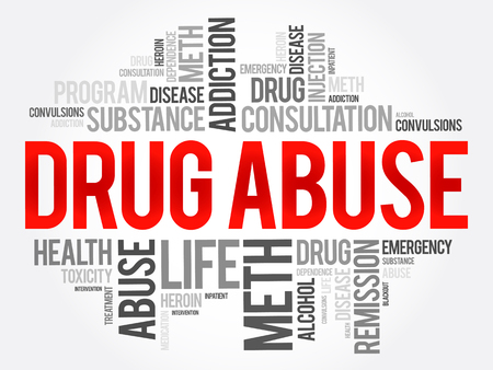 paranoia: Drug Abuse word cloud collage, health concept background