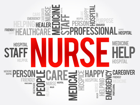 rn: Nurse word cloud collage, health concept background