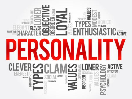 De wolkencollage van het persoonlijkheidswoord, sociale conceptenachtergrond Stock Illustratie
