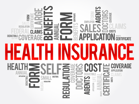 Health Insurance word cloud collage, healthcare concept background