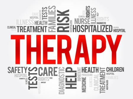 치료 단어 구름 콜라주, 건강 개념 배경