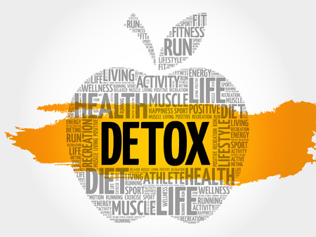 DETOX apple word cloud collage, health concept background
