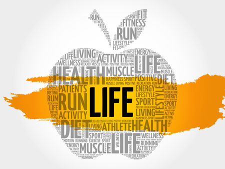 positive energy: LIFE apple word cloud collage, health concept background