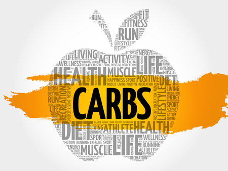 CARBS apple word cloud collage, health concept background Ilustrace