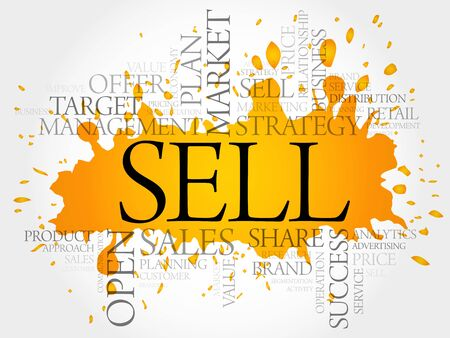 retailing: SELL word cloud collage, business concept background Illustration