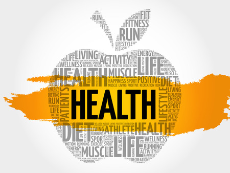 Health apple word cloud collage, health concept background Illustration