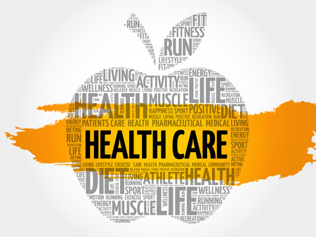 preventive: Health care apple word cloud collage, health concept background