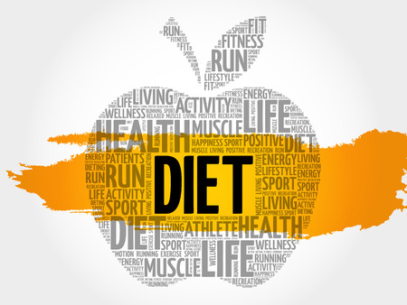 DIET apple word cloud collage, health concept background