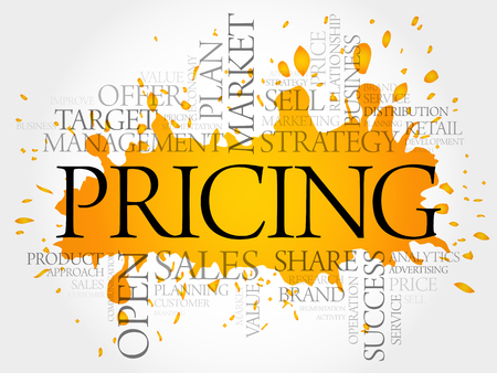 Pricing word cloud collage, business concept Illustration