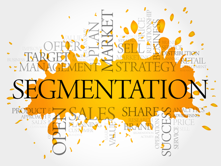 Segmentation word cloud collage, business concept Illustration