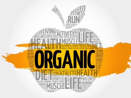Organic apple word cloud collage, health concept background Illustration