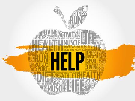 Help apple word cloud concept