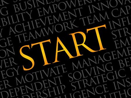 Start word cloud, business concept Illustration