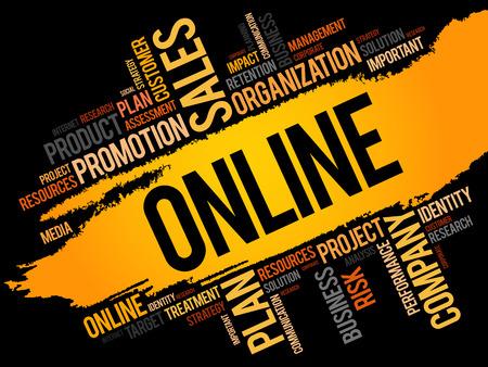 Online word cloud, business concept Illustration