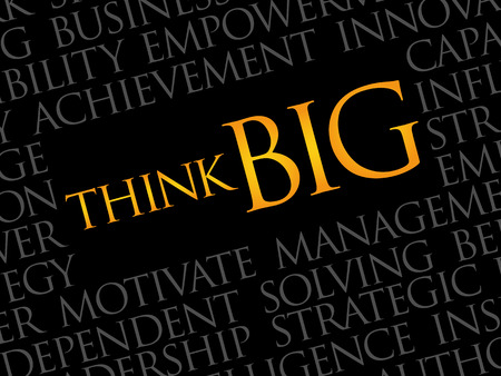 overachieving: Think Big word cloud, business concept