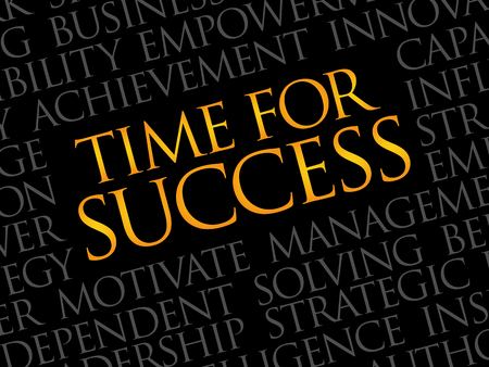 accomplish: Time for Success word cloud, business concept