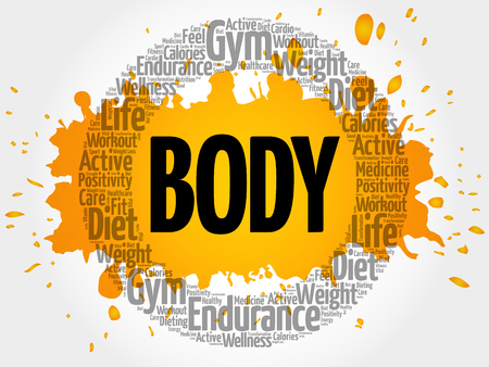 BODY circle stamp word cloud, fitness, sport, health concept