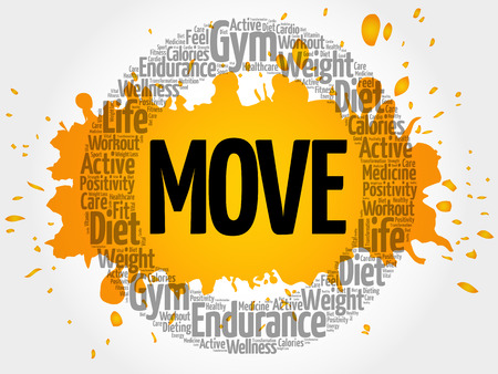 MOVE circle stamp word cloud, fitness, sport, health concept