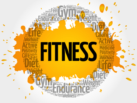 FITNESS circle stamp word cloud, fitness, sport, health concept