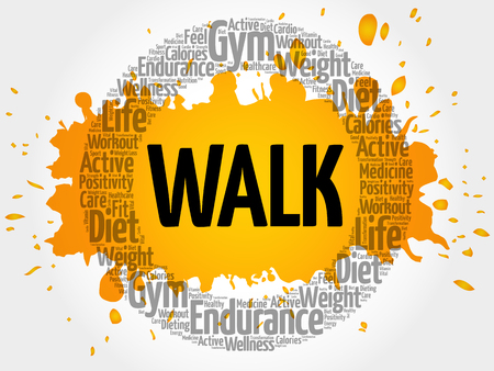 WALK circle stamp word cloud, fitness, sport, health concept Illustration