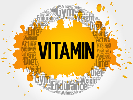 ascorbic: VITAMIN circle stamp word cloud, fitness, sport, health concept