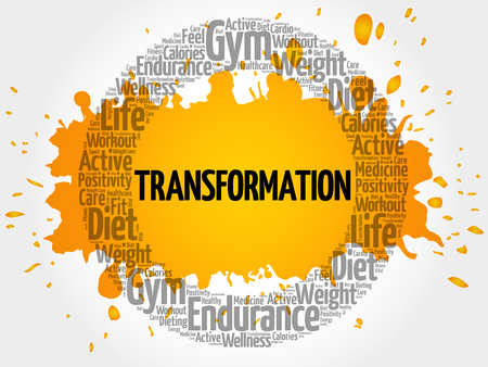 TRANSFORMATION circle stamp word cloud, fitness, sport, health concept