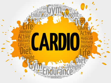 CARDIO circle stamp word cloud, fitness, sport, health concept