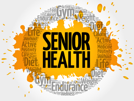 Senior health circle stamp word cloud, fitness, sport, health concept Illustration
