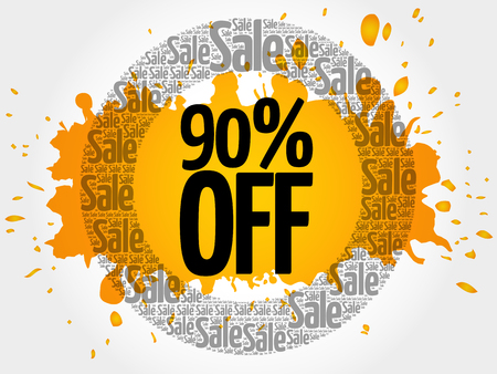 90% OFF words cloud, business concept background