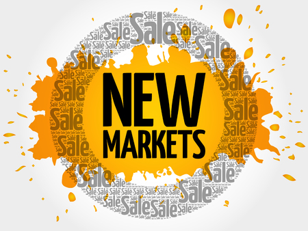 New Markets stamp words cloud, business concept background